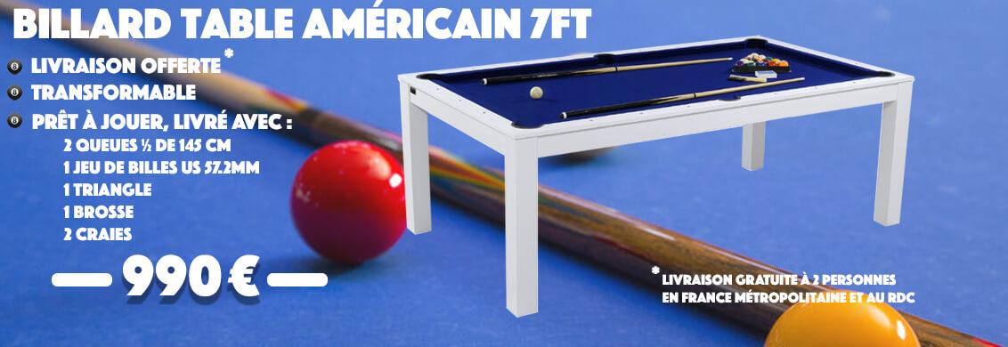 Billard Table Américain Blanc 7ft tapis Bleu