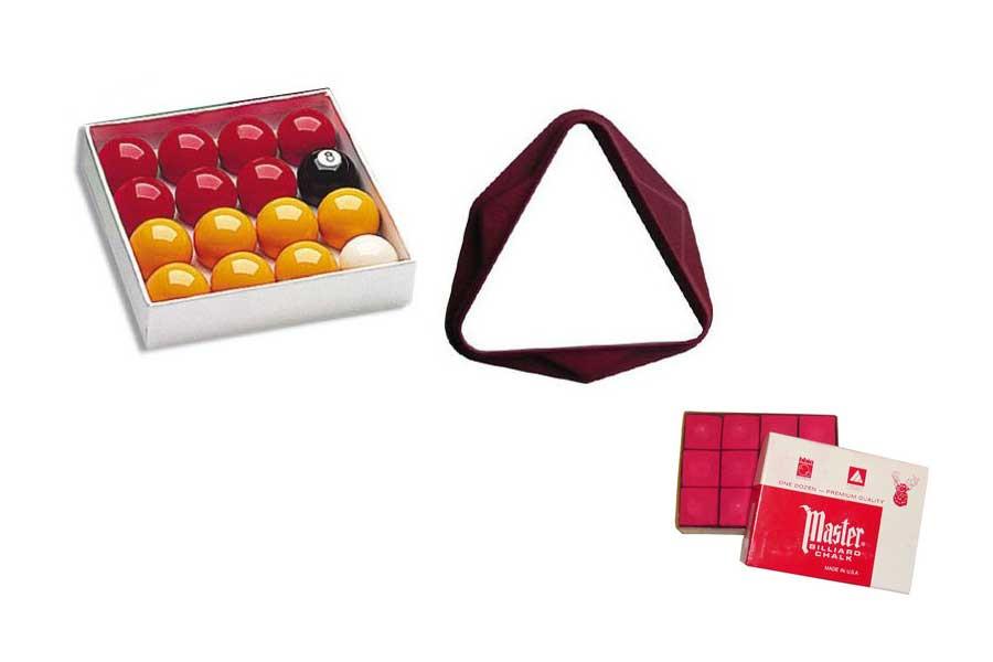Lot Rouge comprenant : billes, triangle et craies
