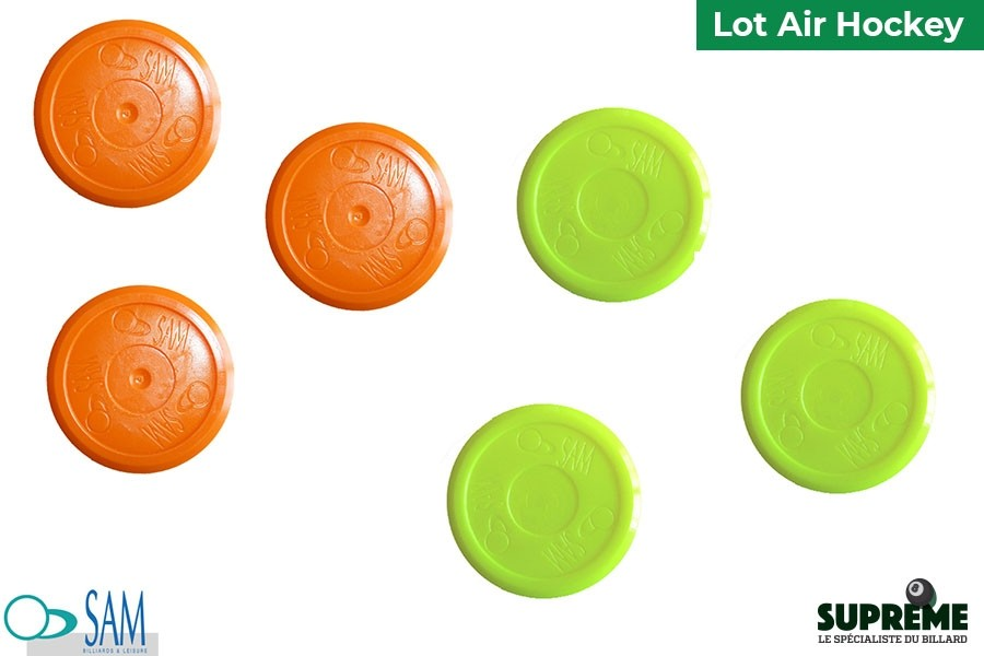 Lot de 6 palets Ronds Oranges et Jaunes Air Hockey