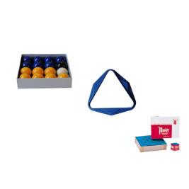Lot Bleu comprenant : billes, triangle et craies