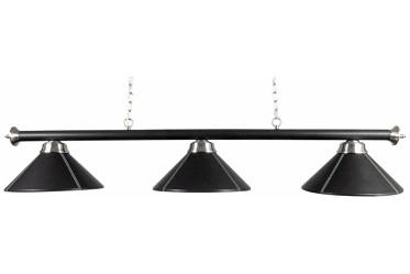 Luminaire 3 globes simili cuir noir 150 cm
