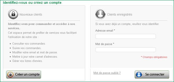 Identification sur le compte client