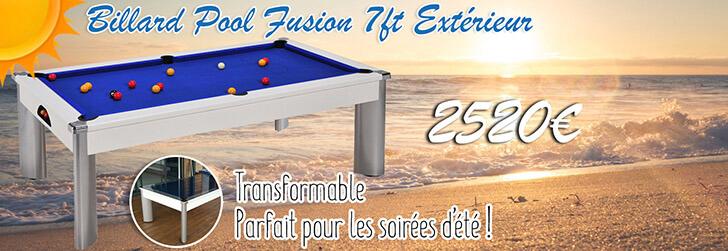 Billard Pool Fusion 7ft Blanc Extérieur